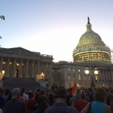Supporters of the House Democrats sit-in outside the U.S. Capitol building